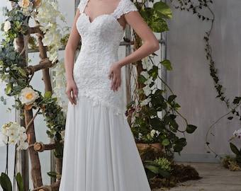 Wedding dress wedding dress bride dress HELEN Mermaid Mermaid dress plain chiffon skirt beaded occupied top