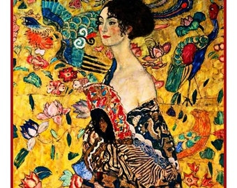 GREAT SALE The Lady with a Fan inspired by Art Nouveau Artist Gustav Klimt Counted Cross Stitch Chart