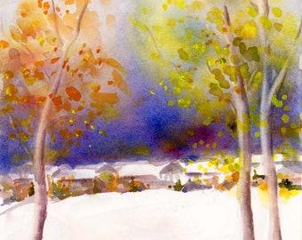 Landscape Watercolor Painting Print by ConnieTownsArt, Landscape Watercolor
