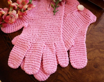 Child's Vintage Hand Crocheted Gloves, 1930's Little girls Gloves, Vintage Child Accessory, Flower Girl Gloves, Easter Gloves, Pink Gloves