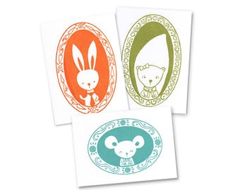 Mr. Bunny, Ms. Squirrel, and Mr. Mouse Notecard Set of Three Gocco Printed Cards