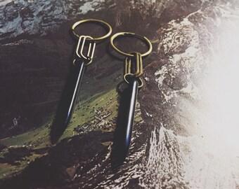 black howlite and brass earrings - small hoop earrings