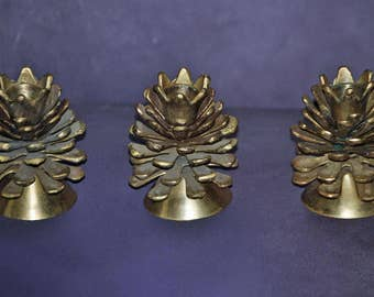 3 Vintage Solid Brass Taper Candle Holders