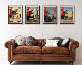 Super Offer x 4 Godzilla Meets United States Cities San Francisco Las Vegas Chicago New York Print