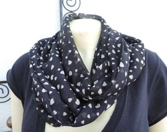 hearts infinity circle loop scarf Black Beige  hearts chiffon
