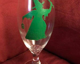 Green Witch Hand Painted Glass