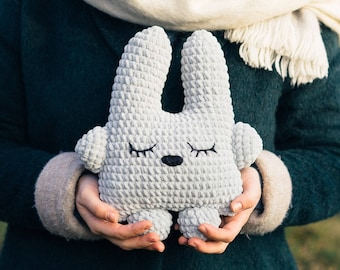 Plush Bunny, Crochet Bunny, Handmade Bunny, Sleepy Bunny, Baby Shower