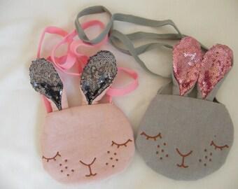 Sequin Bunny bag (pink ears grey or gray pink ears) girl
