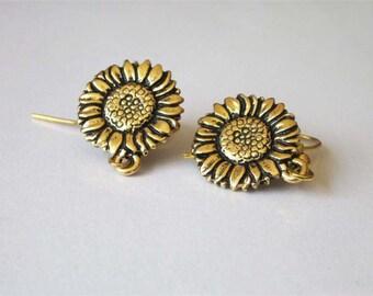 Antiqued Gold Sunflower Earrings, Garden Flower Earrings, Small Metal Earrings, Womens Jewelry, Small Drop Earrings, Flower Jewelry