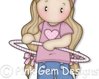 Digi Stamp Hula Hoop Chloe - Girls Birthday, Party  Invitatations etc