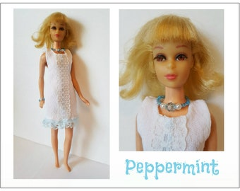 FRANCIE Doll Clothes - PEPPERMINT Dress and Jewelry - also fits Twiggy & Casey - Custom Fashion - by dolls4emma