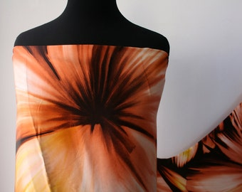 pure silk satin fabric tropical print  browns oranges dress kaftan skirt blouse sewing dressmaking 120cm **FREE SHIPPING**