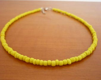 Yellow Choker, Minimal Beaded Choker Necklace, Dainty Seed Bead Necklace, Vibrant Summer Necklace
