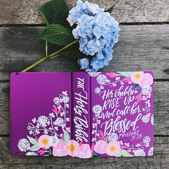 Hand painted bible, bible gift, custom bible art, bible journaling, Mother's day gift, gifts for Christian mom, wedding gift, floral bible