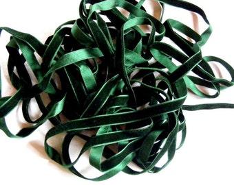 Vintage French Silk Velvet Ribbon 1920's 7/16 inch Gorgeous Forest Green