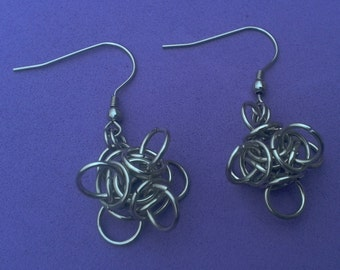 Funky earrings, tetra orb, stainless steel, velvet gift pouch.
