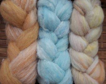 Hand Dyed British Ryeland Wool Plaited Batts