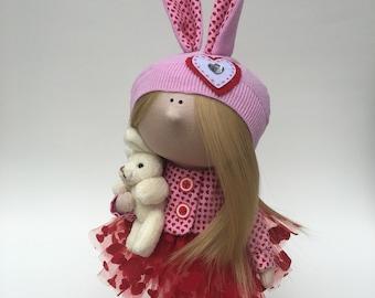 "Handmade Cloth Interior Girl Bunny Tilda Doll 11"" Unique Gift"
