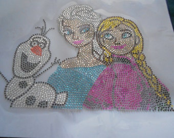 Elsa And Anna  with olaf  Rhinestone Transfer