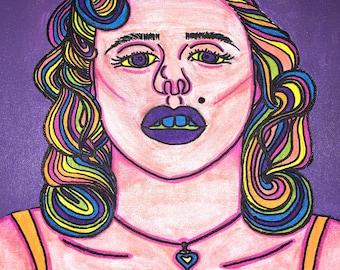 "Marilyn Monroe Rainbow Original Painting, 11x14"" Colorful Marilyn Monroe Hand Painting- Wall Decor- Wall Hanging- Home Decor"
