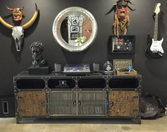 Metal and Wood Media Console | Vintage Industrial HiFi Record Player Retro Furniture | TV  Steel, Mesh & Wood | Storage