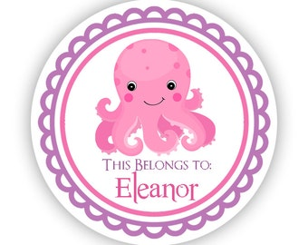 Name Tag Sticker Labels - Pink Purple, Ocean Sea Creature, Cute Octopus Personalized Name Stickers - Round Tags - Back to School Name Labels