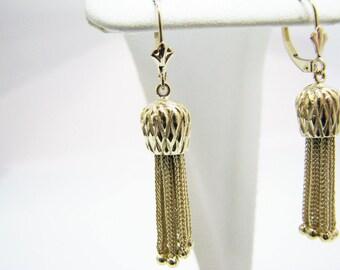 a1103 Vintage Stunning 14k Yellow Gold Dangle Tassel Earrings