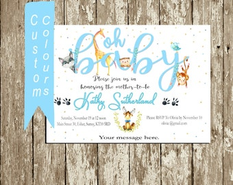 Boy Baby Shower Invitation Printable Blue and yellow Baby Shower Invite Card Personalized Invitation Forest Animals Woodlands Baby Animals