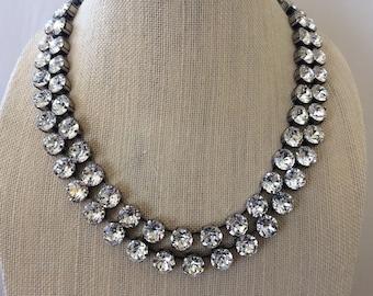 Double Strand Swarovski Crystal Statement Necklace, antique silver settings, Diamond Crystal, wedding necklace, multi strand necklace