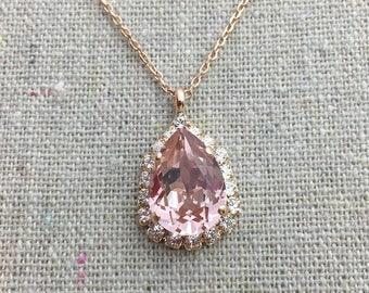 Swarovski Crystal Blush Pink Faux Diamond Halo Teardrop Pendant Rose Gold Bridal Necklace Morganite Wedding Jewelry Bridesmaids Gifts