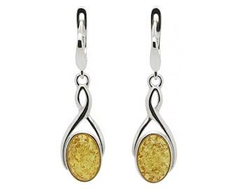 Gemstone Earrings - Infinity Earrings - Amber Earrings - Statement Earrings - Anniversary Gift - Dainty Earrings - Honey Amber -210EAS1h