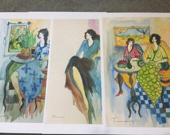 Itzchak Tarkay (3pcs)  (1935 – June 3, 2012)  art print Large Size