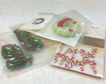 MINIATURE CHRISTMAS DECOR, Assorted Lot of Candy Canes, Wreath, Garland, Original Packages, Vintage Dollhouse Holiday Decorations