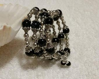 Silver and black bracelet, memory wire bracelet, beaded bracelet, wrap bracelet, heavy beaded bracelet, multi-loop bracelet, dressy bracelet