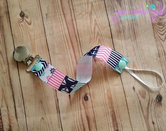 Pacifier Holder- Anchors-Boats-Pink-Teal