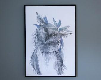 Boho Owl Print - A4