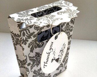 Gray  bags, 25 Favor bags, gift bags, wedding favor box, custom gift bags, Small Personalised Party Bag, Gift Bags, Wedding Favour Bags,