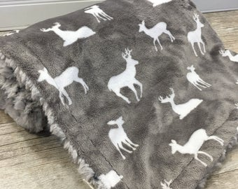 Deer Baby Blanket. Faux Fur Baby Blanket. Minky Blanket. Woodland Baby Blanket. Gender Neutral Blanket