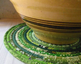 Coiled Green Bohemian Table Mat, Hot Pad or Trivet - LARGE ROUND, Handmade by Me