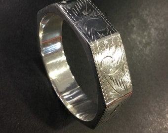 Silver octagonal bangle