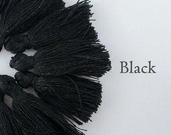 Black Tassel, Mini Cotton Tassel, 20-30mm, 10/20/50pcs, Small Bracelet Tassel, Jewelry Decoration, Craft Supply, TS106