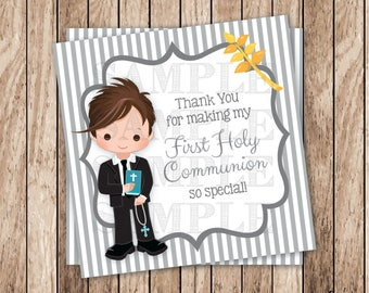 Instant Download . Printable First Communion Tags, Printable Boy Communion Thank You Tags, Printable Thank You Tags