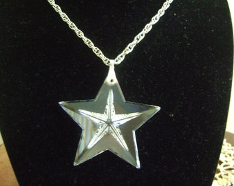 Large Crystal Star with Silver tone Chain Necklace