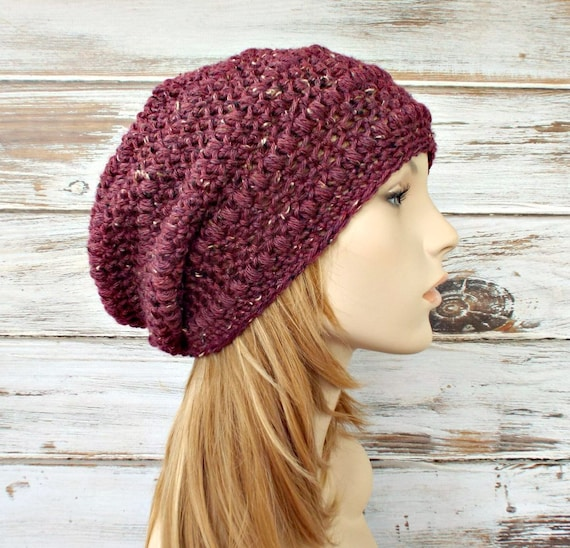 Crochet Hat Womens Hat - Penelope Puff Stitch Slouchy Beanie - Tweed Burgundy Hat Burgundy Beanie - Womens Accessories - READY TO SHIP