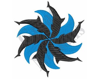 Dolphin And Water Spiral - Machine Embroidery Design