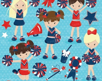 80% OFF SALE Cheerleader clipart commercial use, vector graphics, digital clip art, digital images - CL646