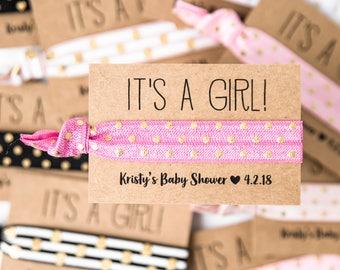 Modern Pink Baby Shower Hair Tie Favors | Pink, Black + Gold Hair Tie Favors, Baby Shower Hair Tie Favors, Its a Girl, Baby Shower Favors