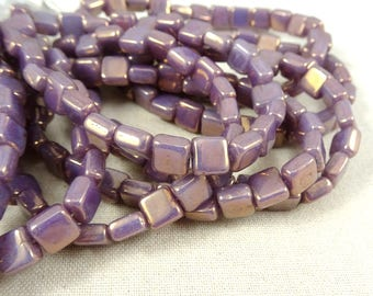 Purple Luster 6mm Square Chicklet Beads, Czech Beads, Czech Glass Beads, Lavender Luster Square Bead, 1 hole, 6mm (SQ/RJ-0725) - Qty. 25