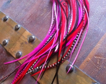 Long Feather Earrings - Long Feather Extension Earrings Hot Pink Feathers, Red, Black, And Grizzly Pink Feather Jewelry