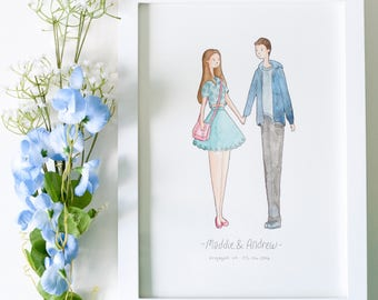 Custom Handmade Couples Portrait Illustration